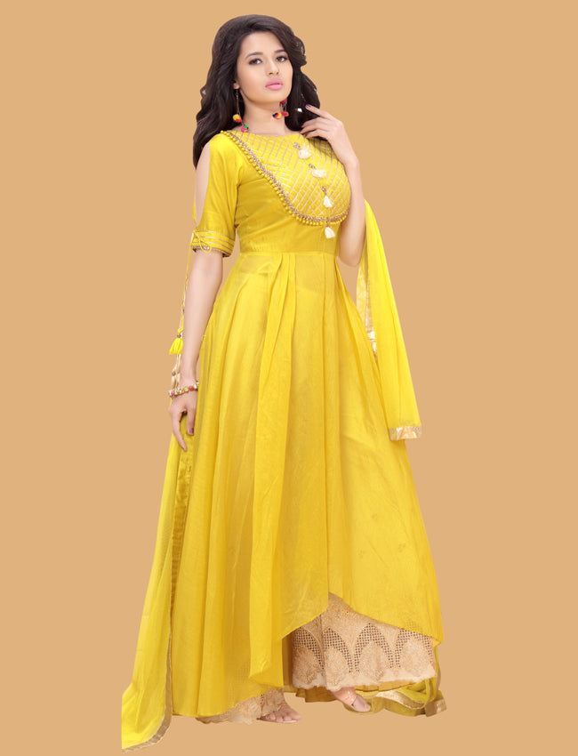 Yellow palazzo suit with lacework, sequins and zari embroidery