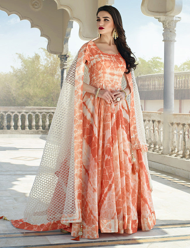 Orange bandhani printed anarkali suit