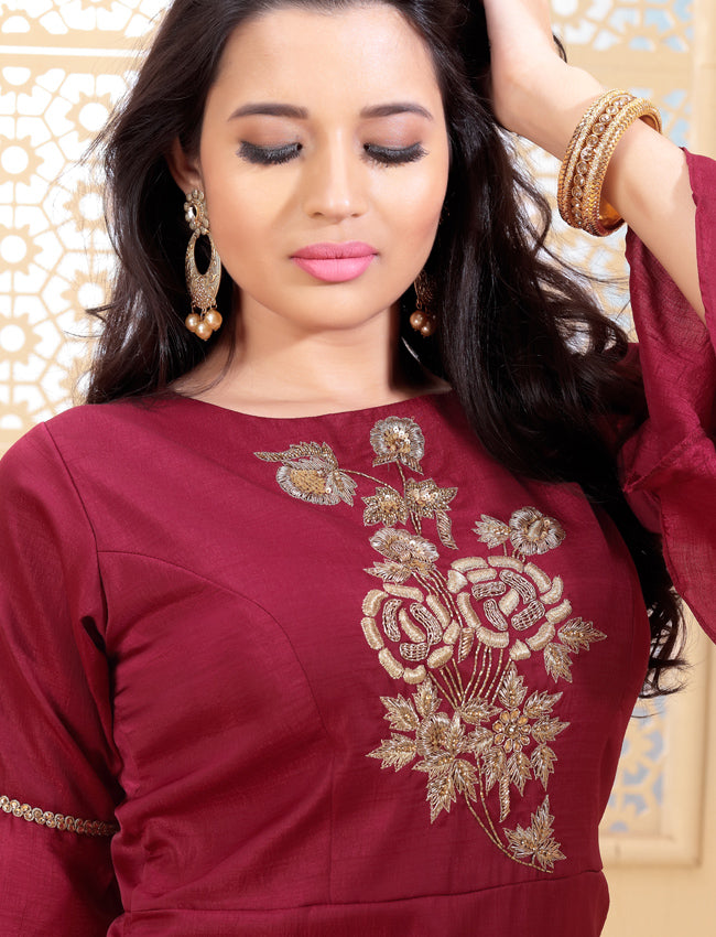 Rose red palazzo suit with zari embroidery and handwork