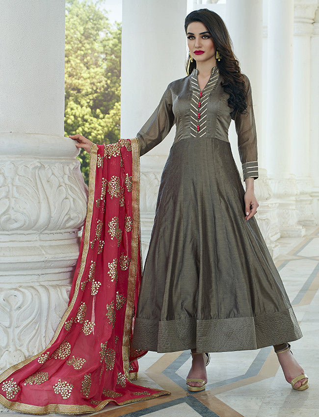 Grey anarkali suit with gotta lace