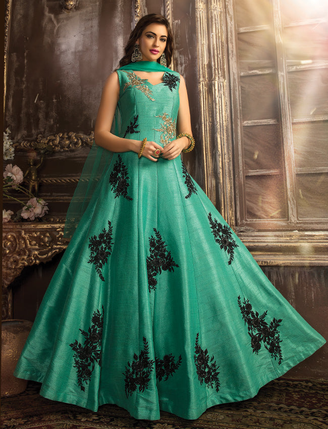 Sea green traditional gown with resham zari embroidery and handwork