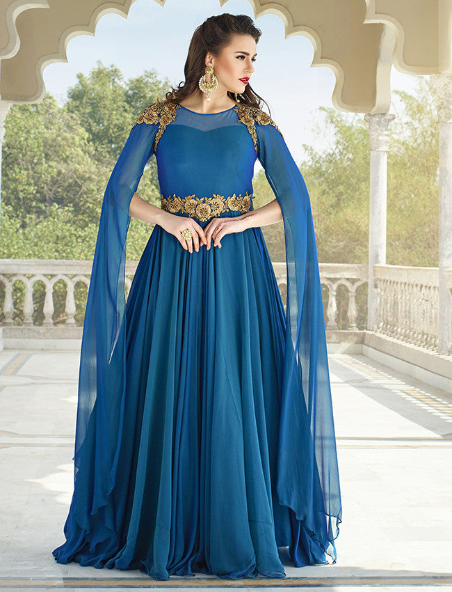 Peacock blue designer suit with zari embroidery