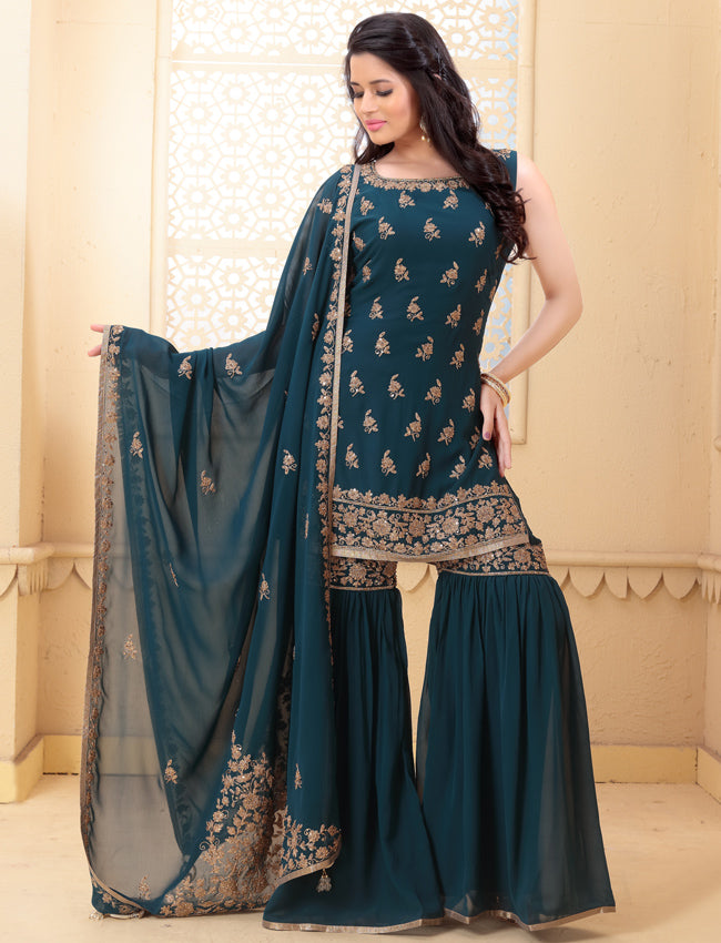 Teal green palazzo suit with kundan sequins and zari cording