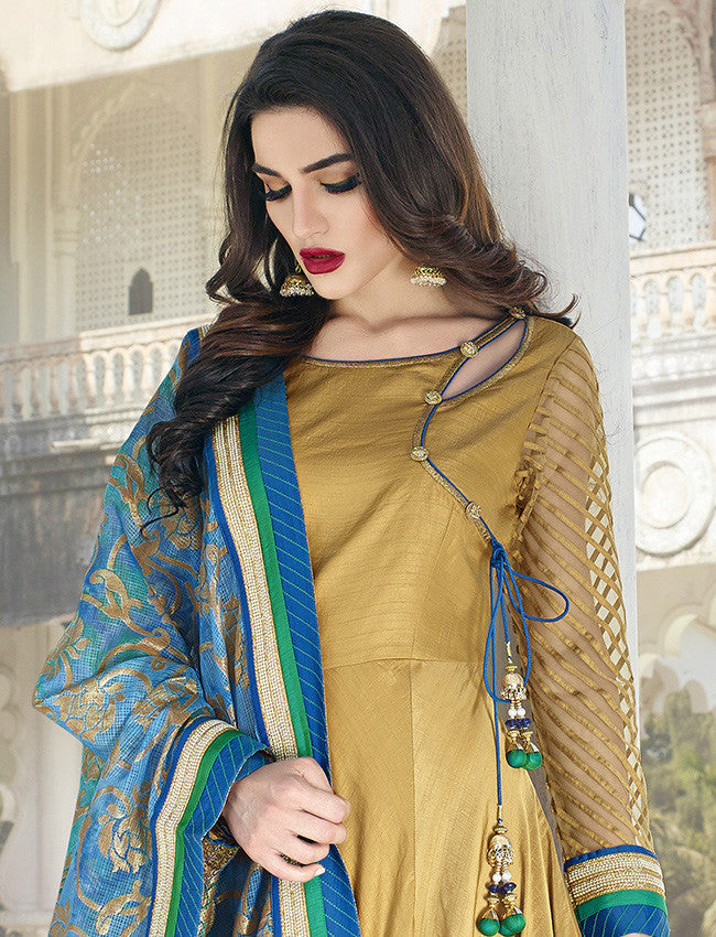 Beautiful golden anarkali suit