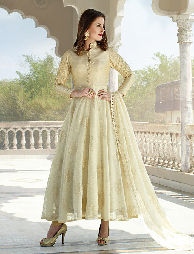 Cream designer suit with embroidery