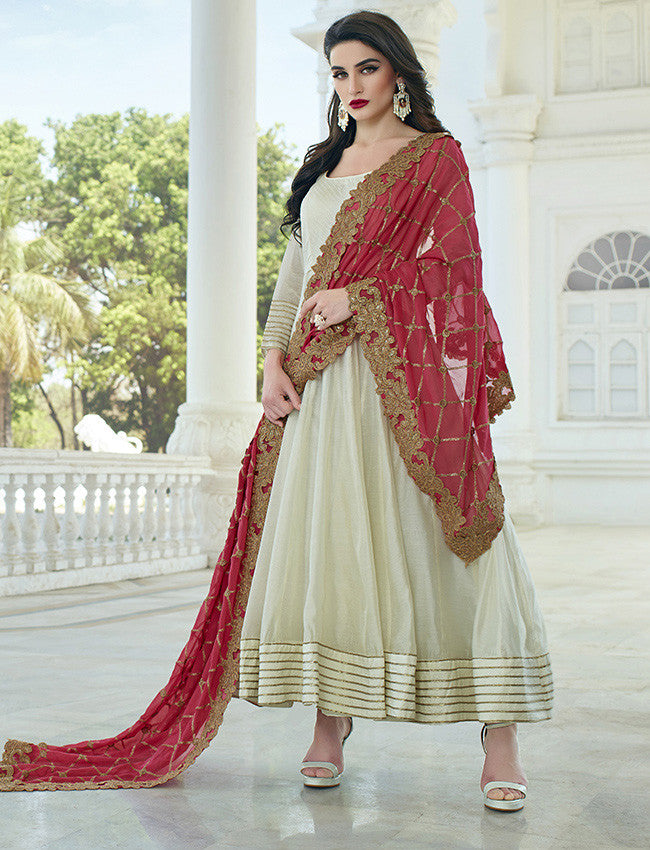 Cream anarkali suit with gotta lace
