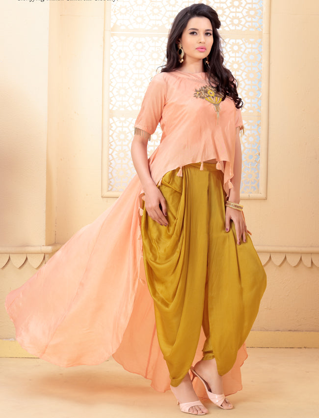 Peach dhoti style suit with resham embroidery and handwork
