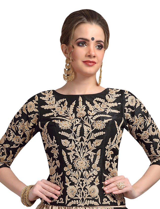 Black harem suit with zari cording and handwork