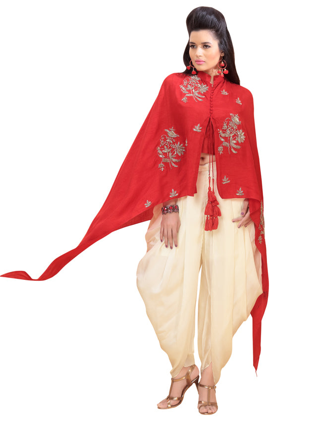 Red dhoti style suit with handwork