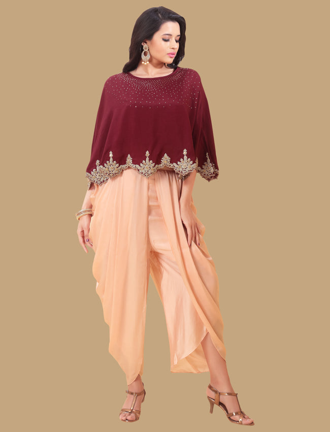 Maroon dhoti style suit with kundan sequins mirror and zari cording