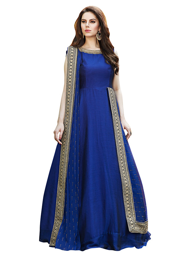 Royal blue party wear suit with zari embroidery and handwork