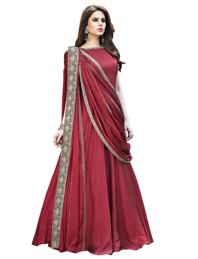 Maroon party wear suit with zari embroidery and handwork
