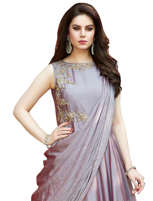 Onion pink party wear suit with zari embroidery and handwork