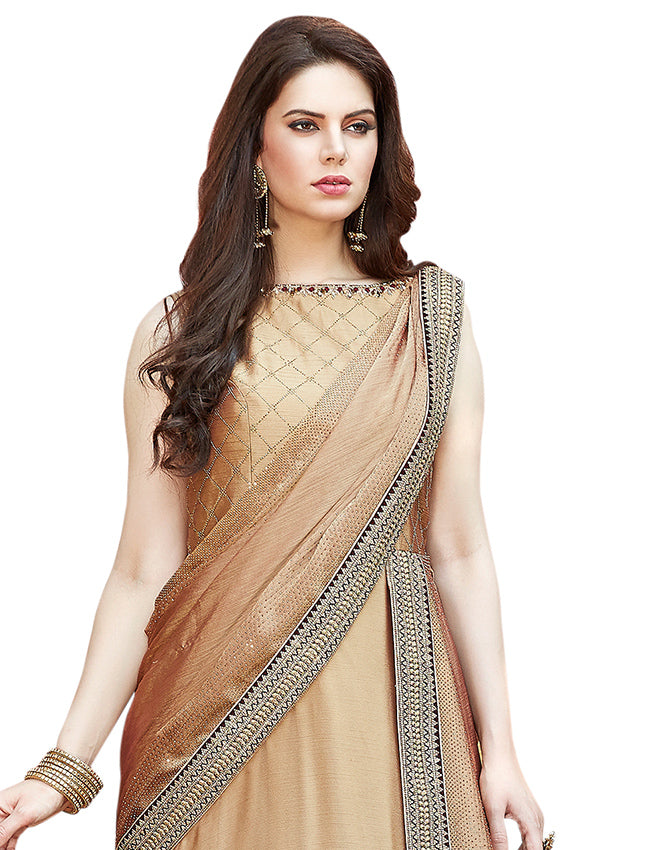Beige party wear suit with zari embroidery swarovski and handwork