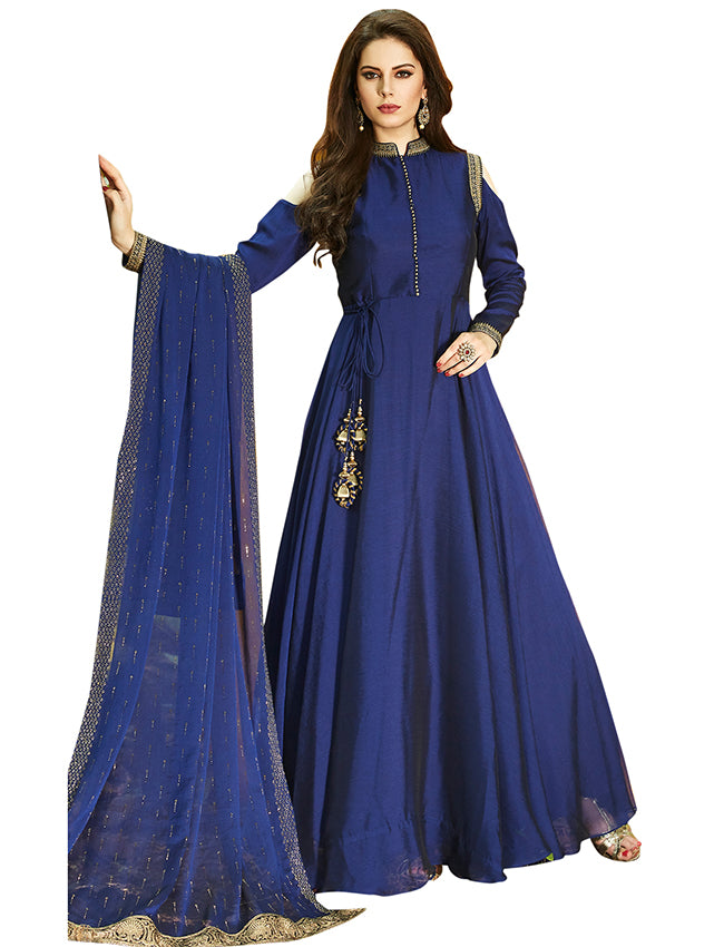 Blue party wear suit with zari embroidery