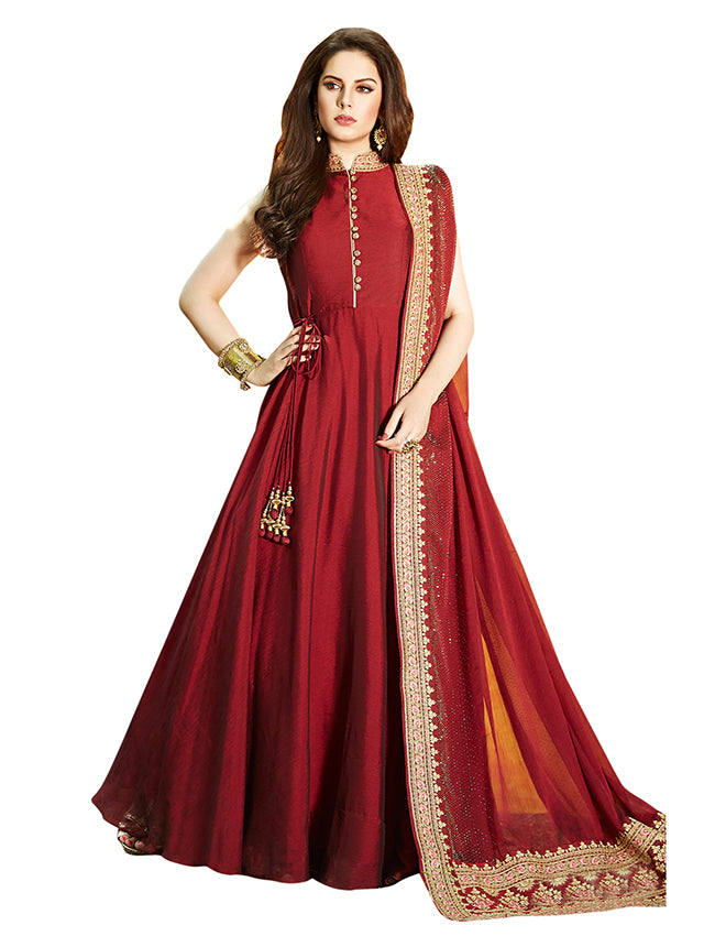 Maroon party wear suit with zari and resham embroidery