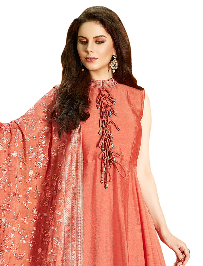 Orange party wear suit with resham embroidery