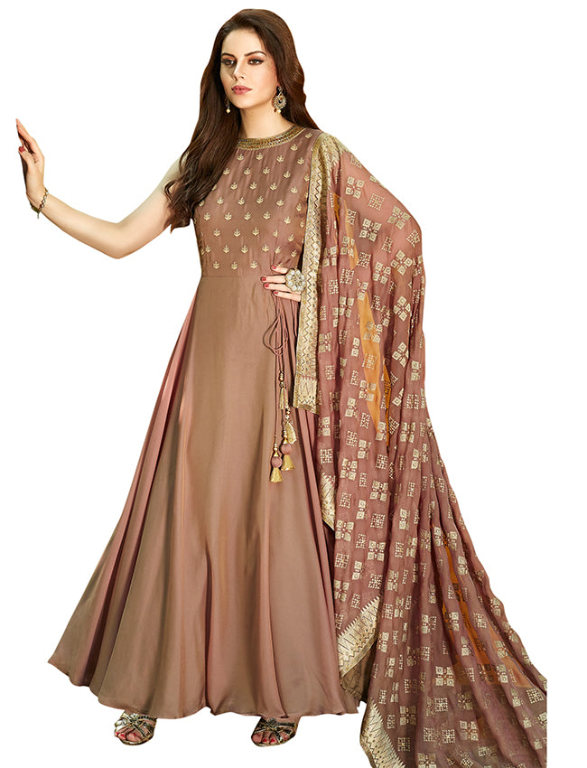 Coffee brown party wear suit with zari embroidery and handwork.