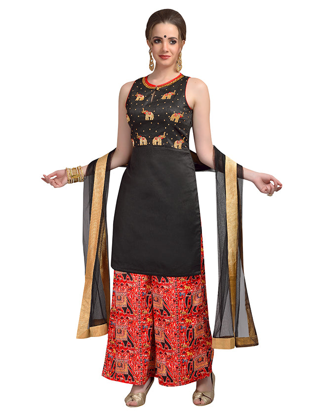 Black party wear palazzo suit with handwork