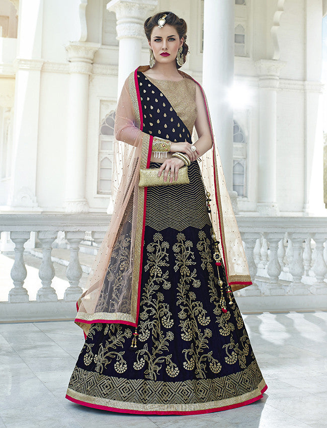 Navy blue lehenga with swarovski