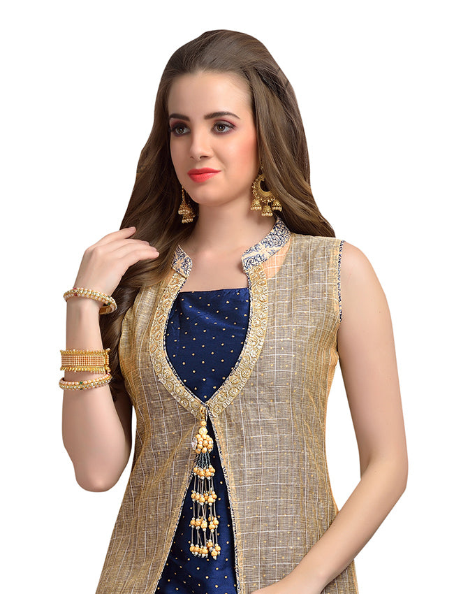 Blue beige jacket style palazzo suit with sequins and zari embroidery