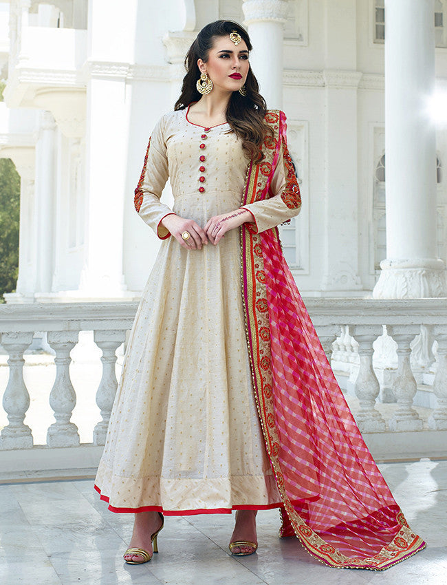 Cream anarkali suit with embroidery