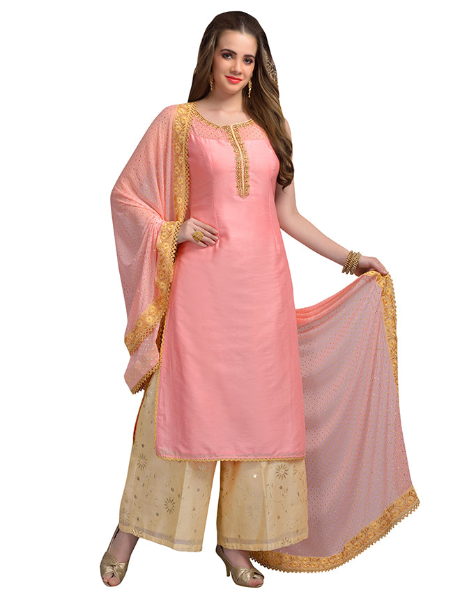 Peach palazzo suit with handwork and foil prints
