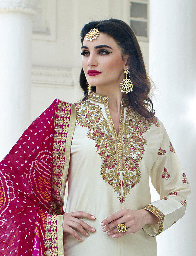 Off white straight cut suit with embroidery