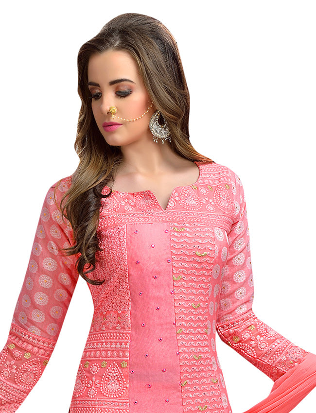 Coral pink palazzo suit with lucknowi embroidery