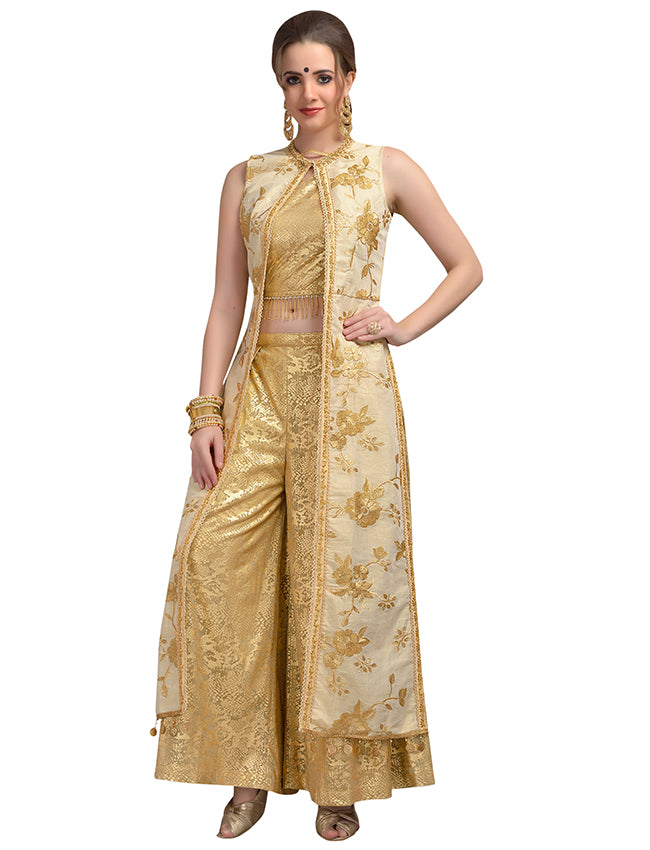 Golden foil printed jacket style palazzo suit with zari embroidery and handwork