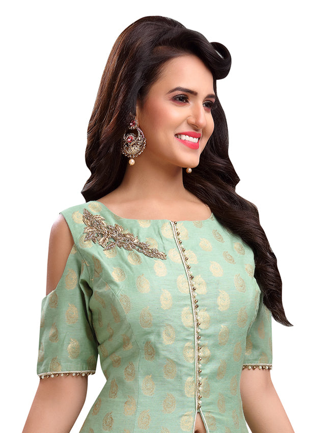 Sea green palazzo suit with handwork