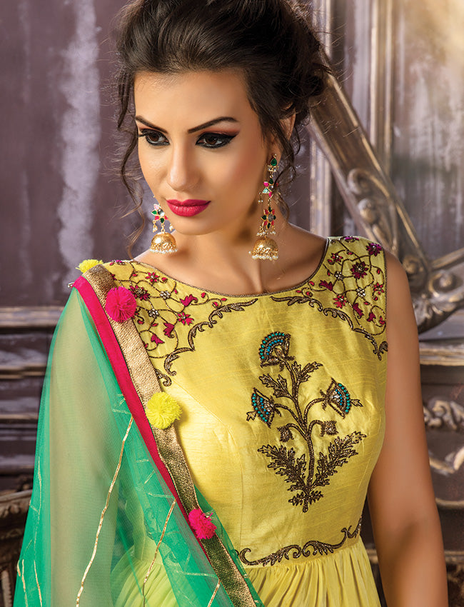 Yellow palazzo suit with handwork