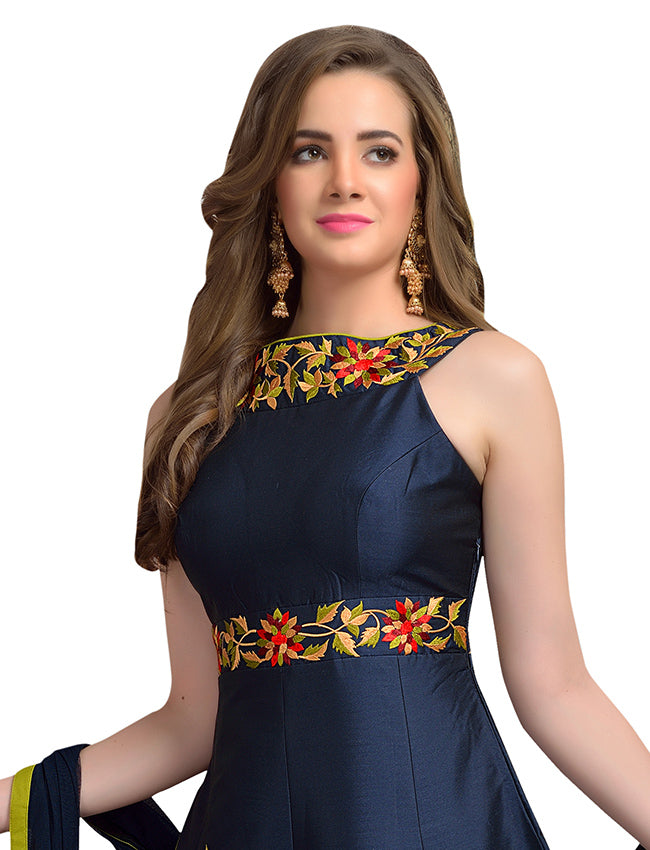 Navy blue party wear anarkali with resham embroidery