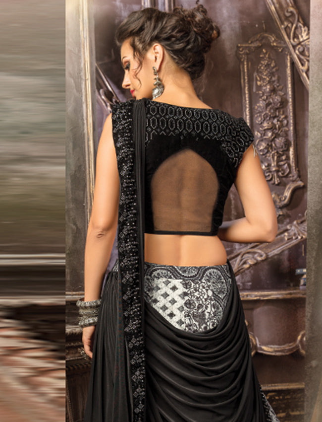 Black and white printed lehenga saree with swarovski