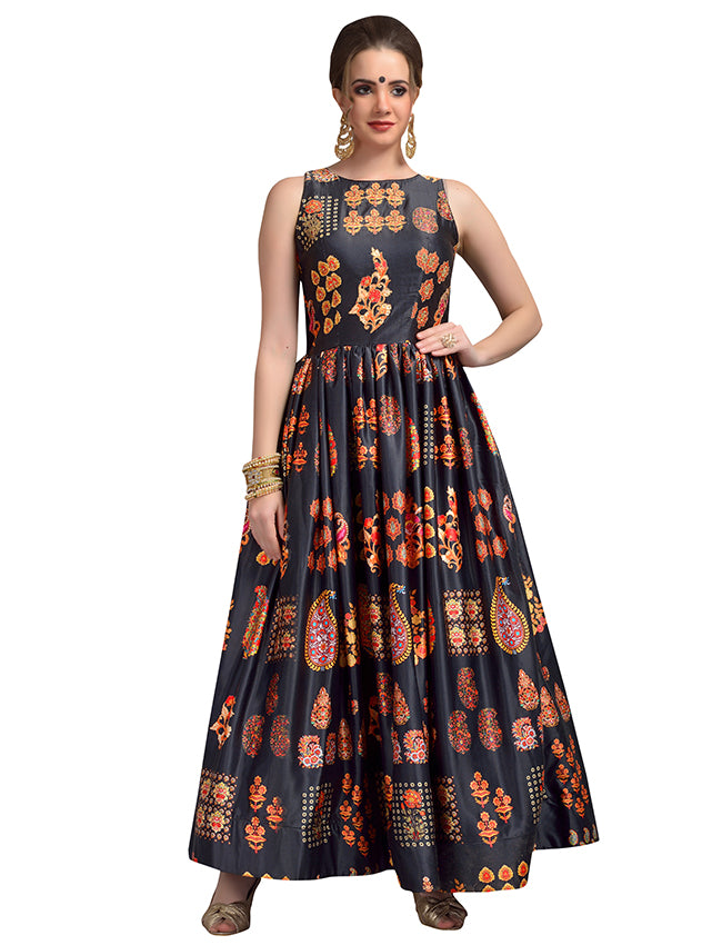 Black party wear printed suit with zari embroidery and handwork