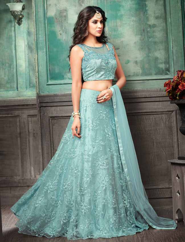 Sky blue crop top lehenga with handwork and machine embroidery