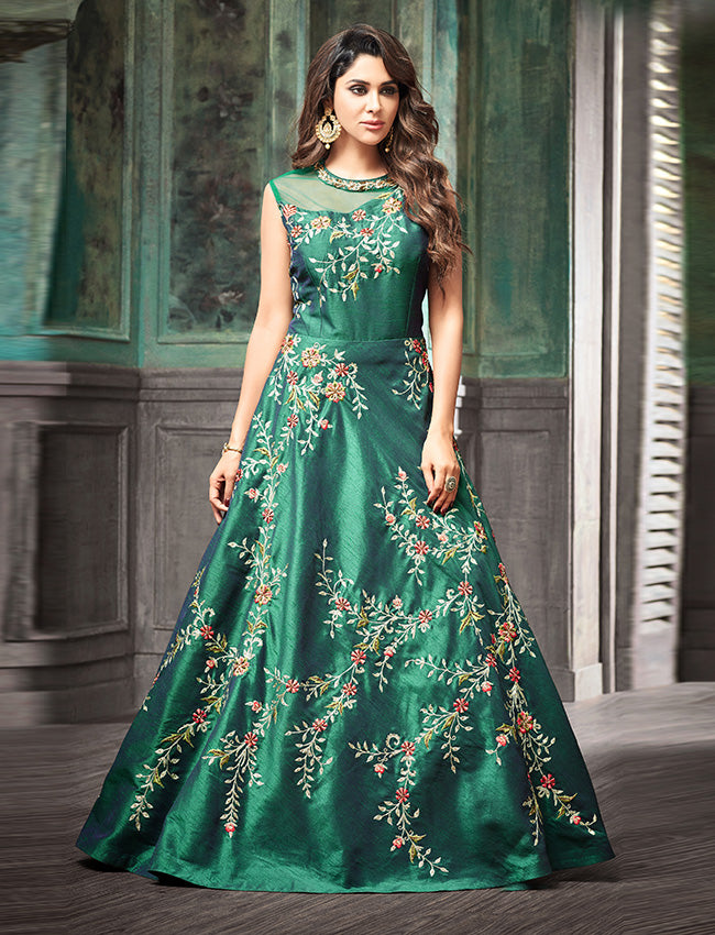 Teal green traditional gown with zari resham embroidery and handwork