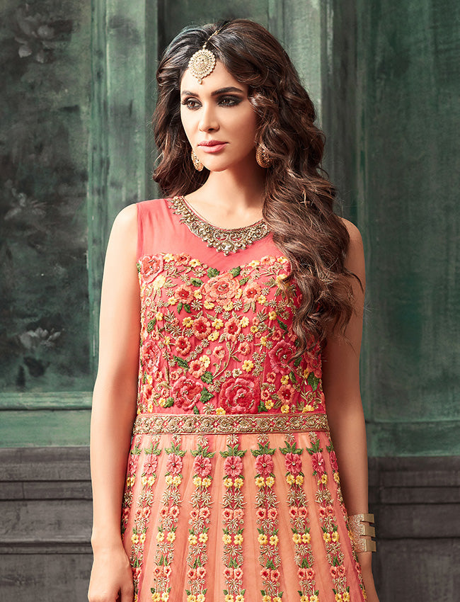 Peach coral traditional gown with resham zari embroidery and handwork