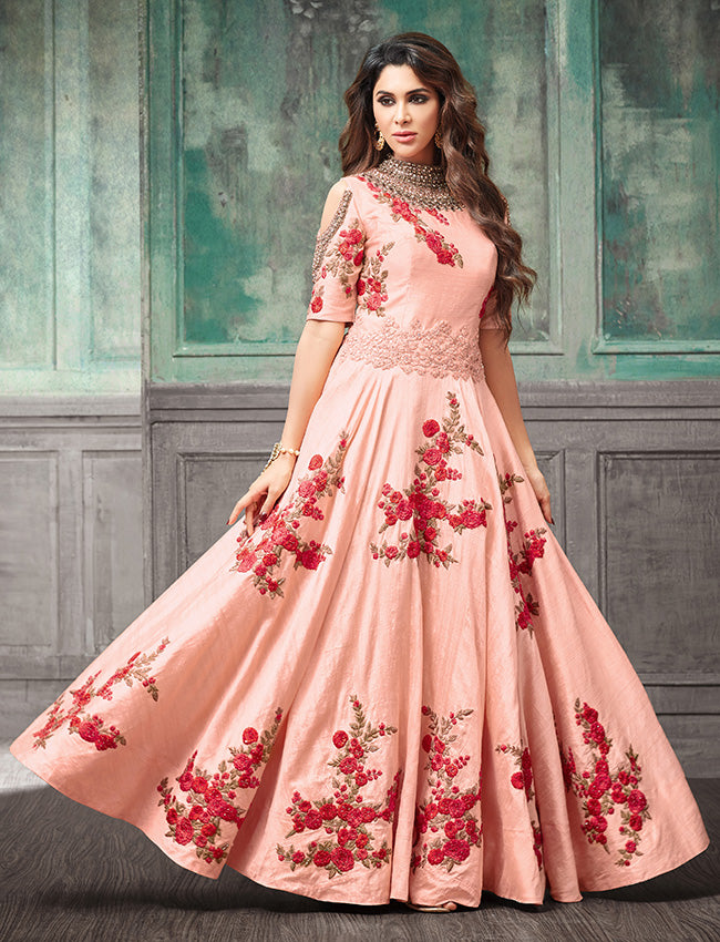 Peach traditional gown with resham tread embroidery and handwork