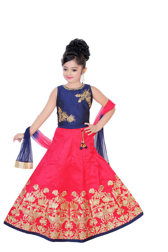 Deep pink and blue lehenga with zari embroidery