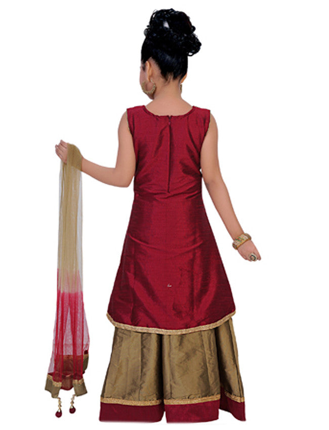 Golden maroon lacha lehenga with handwork