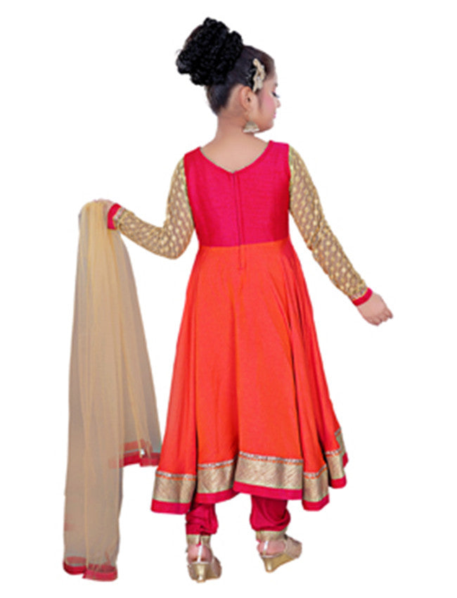 Orange deep pink suit with zari embroidery