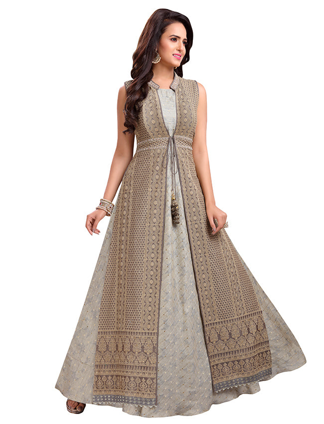 Grey jacket style suit with lucknowi embroidery and handwork