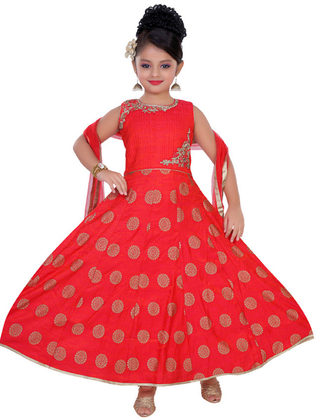 Red anarkali suit with zari embroidery