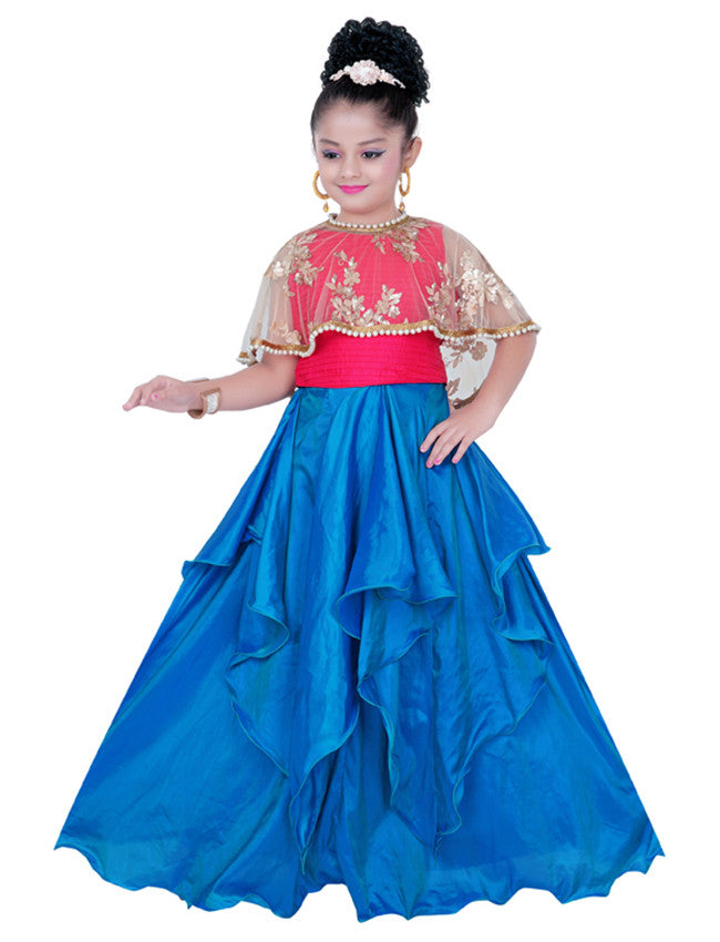 Peacock blue and deep pink cape style lehenga with embroidery
