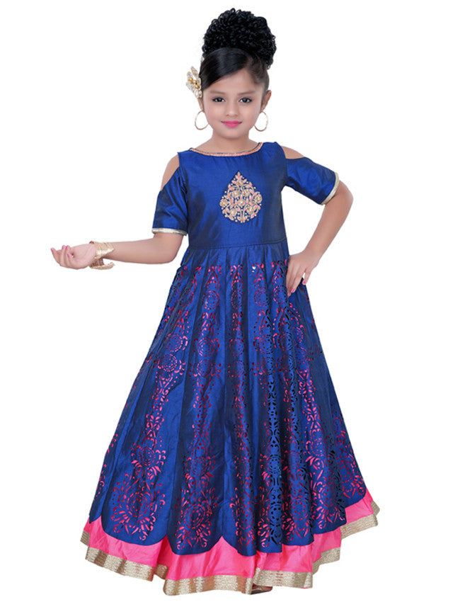 Royal blue anarkali with embroidery and cutwork