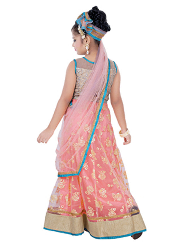 Rose pink and beige foil printed lehenga with embroidery