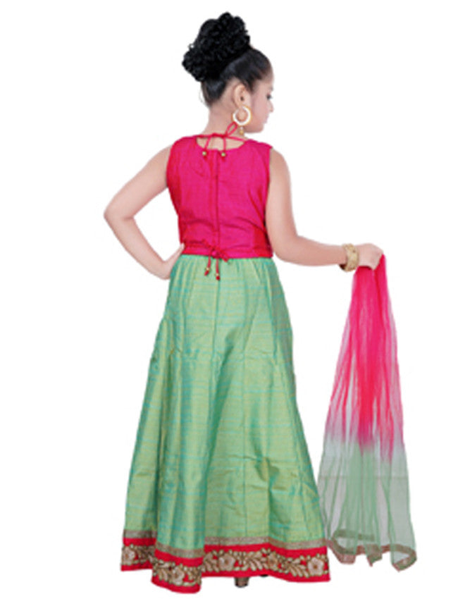 Sea green and deep pink lehenga with embroidery.
