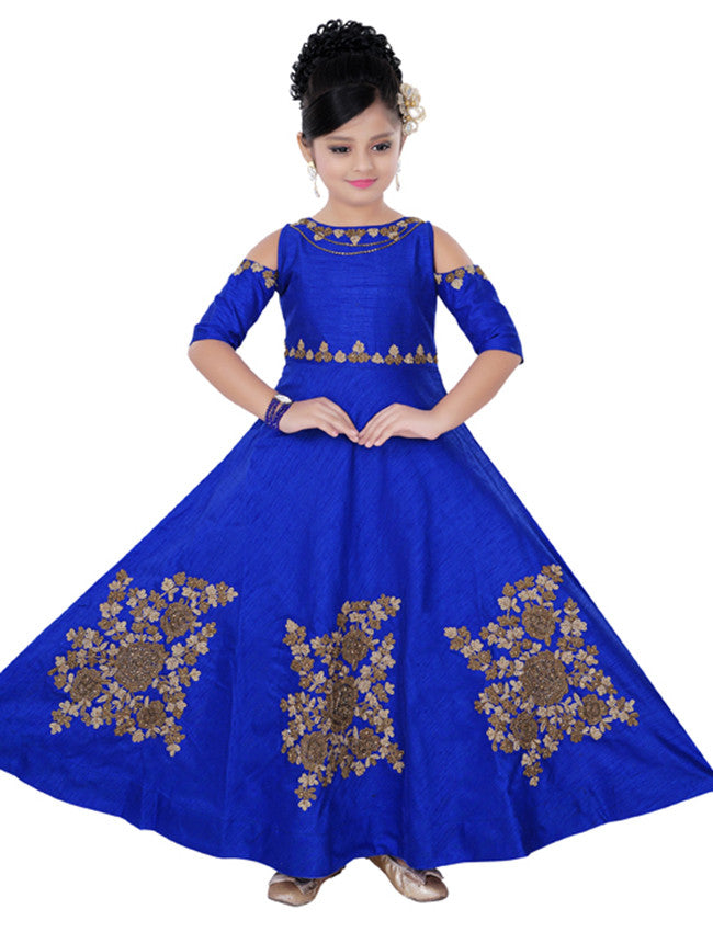 Royal blue designer suit with embroidery