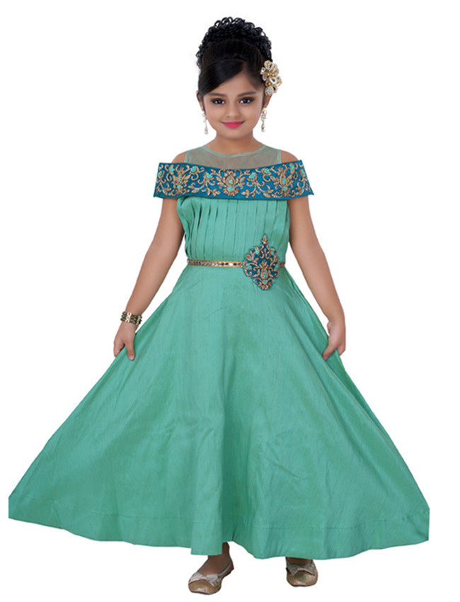 Turquoise party wear suit with handwork